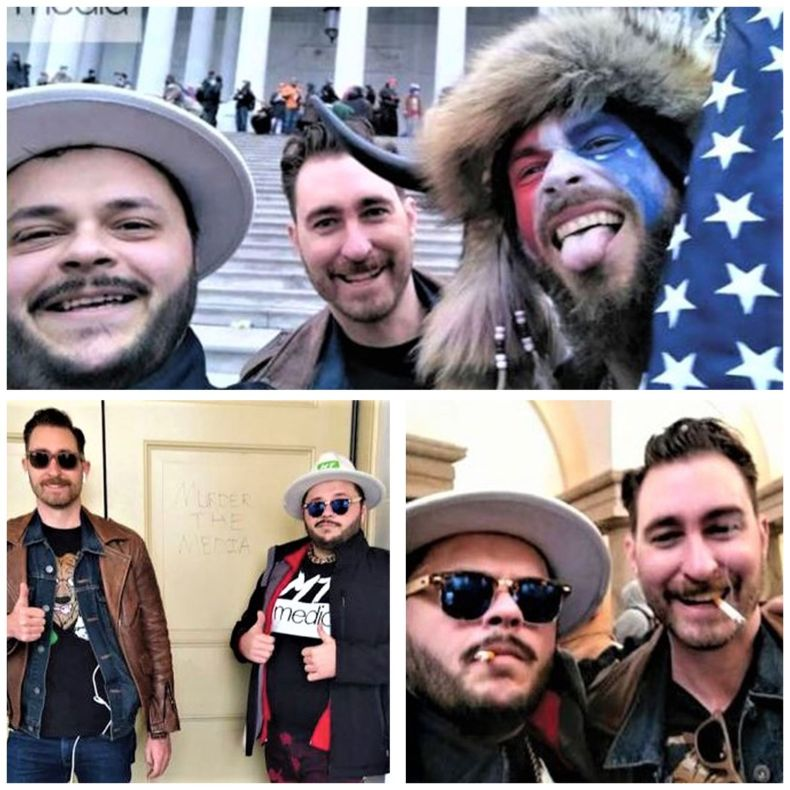 Top picture, Nicholas DeCarlo (left) and Nicholas Ochs (rear) are seen with Jacob Chansley (right), who was arrested Jan. 9, 2021, on charges related to his part in the U.S. Capitol building invasion.