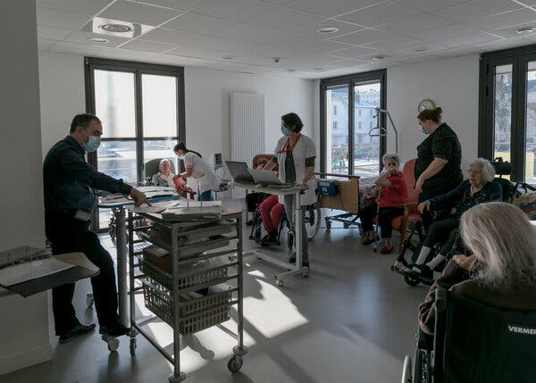 Residents of a nursing home near Paris waiting under observation after receiving their vaccines last month.