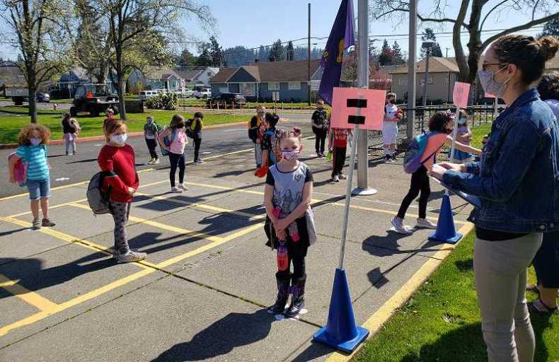 COURTESY PHOTO - First graders line up earlier this month at John Wetten Elementary in Gladstone for their first day of in-person classes in more than a year.
