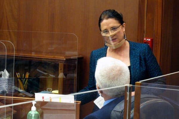 State Senator Lora Reinbold of Alaska during the Senate floor session in Juneau on Monday.