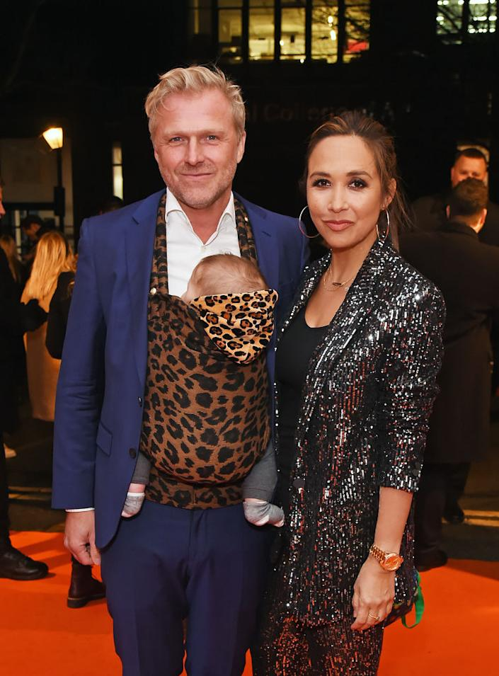 Myleene Klass has discussed parenting in a blended family, pictured with her son Apollo and fiance Simon Motson in January 2020. (Photo by Ian West/PA Images via Getty Images)