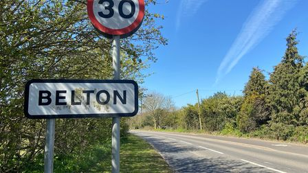 The Belton road sign on New Road