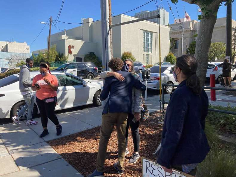 Azrael Vargas hugs a supporter outside the Contra Costa District Attorney's Office on Tuesday. He was found guilty on five counts later that afternoon.