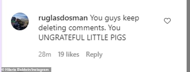 Yikes! One comment poked fun at Alec's infamous voicemail outburst at his daughter, Ireland, which was unearthed during a custody battle with ex Kim Basinger from 2007: 'You guy keep deleting comments. You UNGRATEFUL LITTLE PIGS'