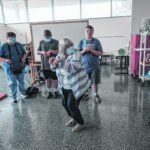 Columbus East special education teacher Peggy Myers plays an improv game with some of her students during class at Columbus East High School in Columbus, Ind., Tuesday, May 25, 2021. Myers was recently named as the recipient of the 2021 Edna V. Folger Outstanding Teacher Award. Mike Wolanin   The Republic