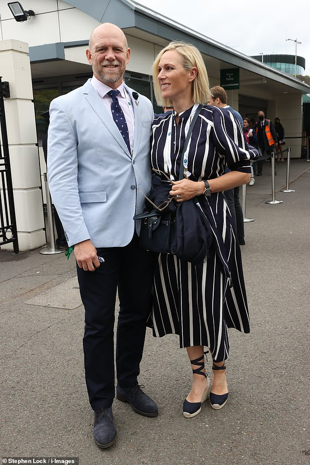 Zara, 40, and Mike Tindall, 42, had a day off from parenting duties as they arrived at the Wimbledon Tennis Championships in London today
