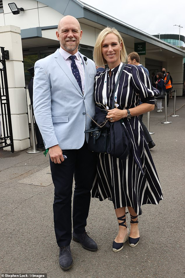 The couple's outing (pictured) comes just four months after the mother-of-three gave birth to their son Lucas, weighing 8lbs 4oz, at 6pm on a Sunday in March on the bathroom floor of their family home on Princess Anne's Gloucestershire estate