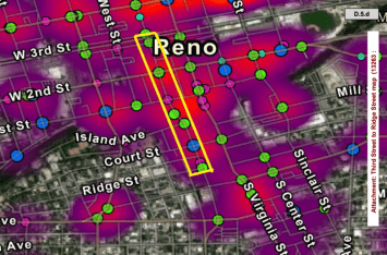 A heat map of crashes in Reno, with the area of highest severity boxed in yellow.