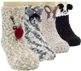 Lovful 4 Pairs Animal Super Warm Baby Fuzzy Soft Thick Socks