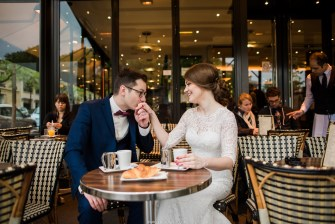 rings and croissant wedding photo