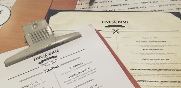 Menu à Five & Dime (River Valley)