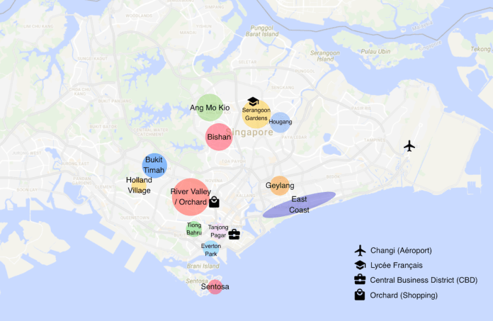 Carte des quartiers de Singapour