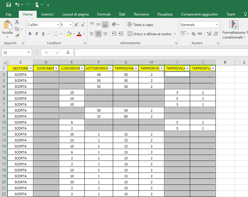 Riempire automaticamente celle vuote in Excel