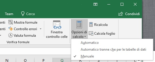 Formule manuali o automatiche in Excel