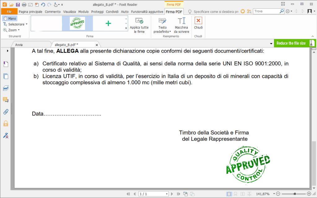 Firmare file pdf con Foxit Reader