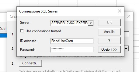 Query SQL variabile in un foglio Excel