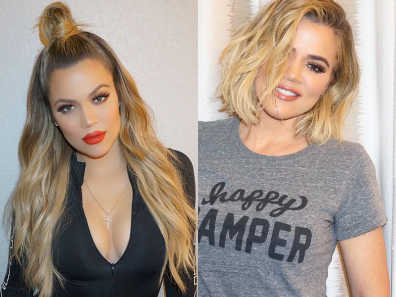 Celebrities Before And After Hair Extensions khloe