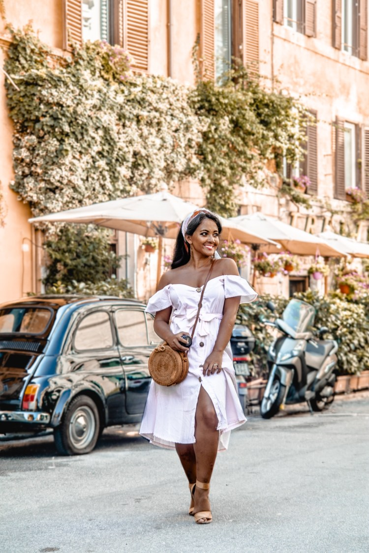How To Wear Off Shoulder Dress Light Blush Pink Button Down Dress Rattan Straw Basket Bag Flat Sandal Headwrap Paris Chic Style Fashion Lookbook Street Style 4