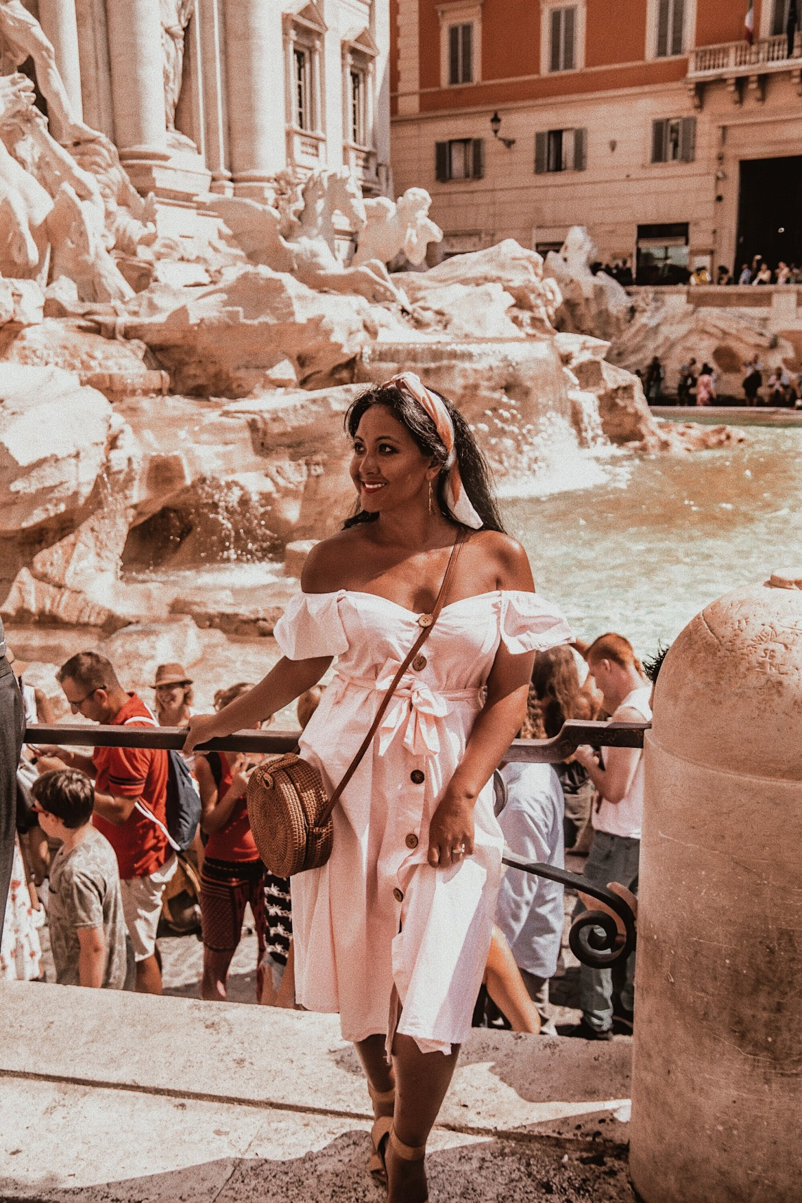 How-To-Wear-Off-Shoulder-Dress-Light-Blush-Pink-Button-Down-Dress-Rattan-Straw-Basket-Bag-Flat-Sandal-Headwrap-Paris-Chic-Style-Fashion-Lookbook-Street-Style-Rome-Italy-7