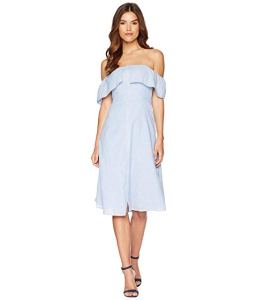 How-to-wear-off-shoulder-dress-white-bardot-frill-button-front-a-line-dress-light-blue-dress-Paris-Chic-Style-6