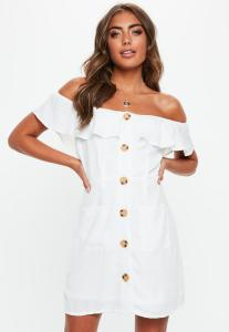 How-to-wear-off-shoulder-dress-white-bardot-frill-button-front-a-line-dress-light-pink-white-dress-Paris-Chic-Style-Fashion-ootd-lookbook-streetstyle-1
