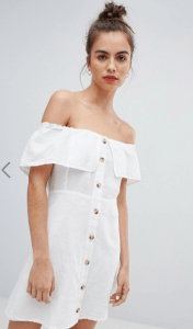 How-to-wear-off-shoulder-dress-white-bardot-frill-button-front-a-line-dress-light-pink-white-dress-Paris-Chic-Style-3