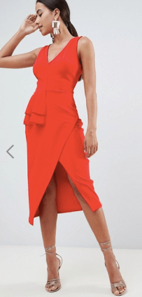 Best Red Dress How To Wear A Red Dress ASOS DESIGN pencil dress with peplum waist and contrast straps Paris Chic Style 11