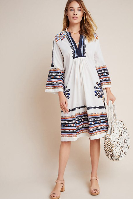 French Bohemian Chic Style Colorful Dress Paris Chic Style