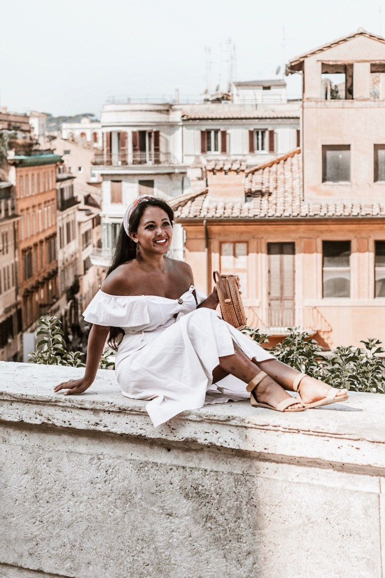 French Style Outfits Parisian off the shoulder dress straw bag flat sandals Rome Italy what to wear in Paris Chic Style