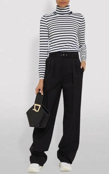 French Clothing Brand Claudie Pierlot French Breton Stripe Sweater Sweater Parisian Style Paris Chic Style