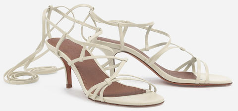 Ba&sh Comfortable Stylish White High Heel French Sandals For Work, Parties, Walking Everyday Parisian Streetstyle Shoes Paris Chic Style