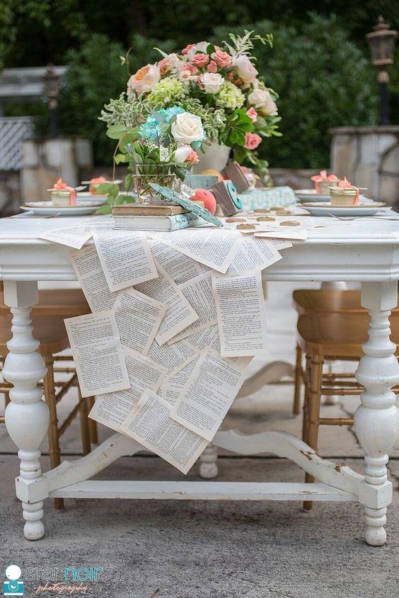 Thème-mariage-littéraire-chemin-de-table-pages