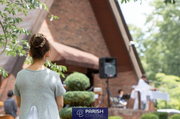 Parishioners Attending Outdoor Mass