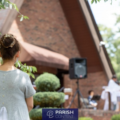 Parishioners Attending Outdoor Mass