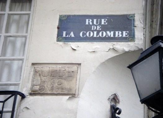 Plaque Rue de la Colombe