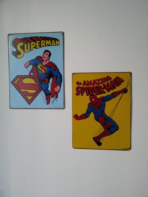 Plaques en émail Super Heros Superman Spiderman