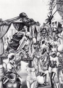 Jim Galding: Reitpeitschen un Küsse (Die Orgie der Dominas) Eros Publishing Hamburg n.d. (1980?) illustrated by Wighead, being a German translation of L'Orgie Dominatrice (1934)
