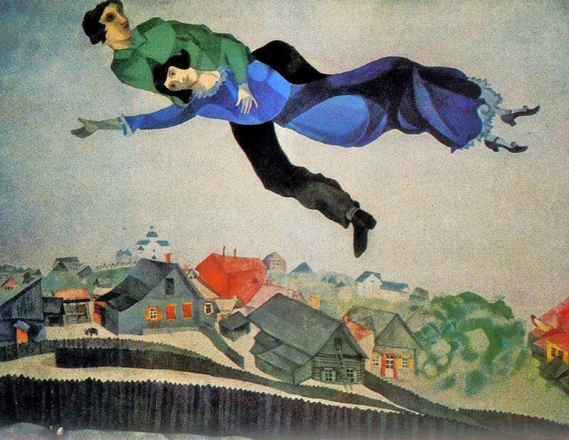 "Marc Chagall, ""Over the Town"", 1918. Public Domain."