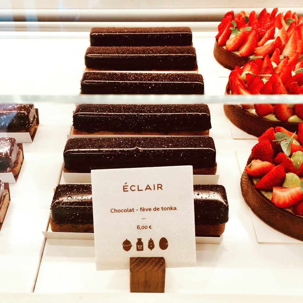 Tonka bean and chocolate eclair at the patisserie included on the Eating Europe tour. Image: Courtney Traub/All rights reserved.