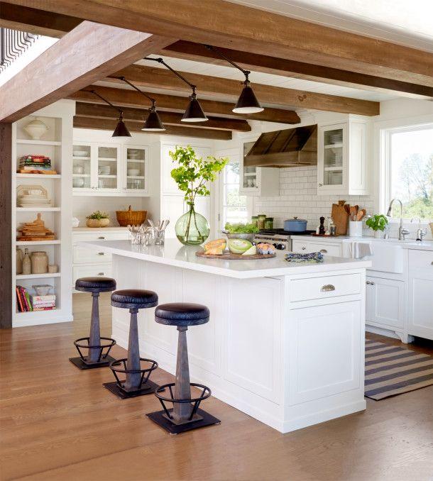 wood beams kitchen