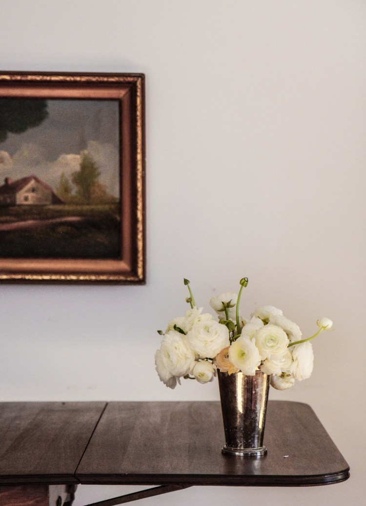 ranunculus and vintage painting