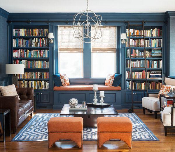 bookshelves around a window park and oak interior design