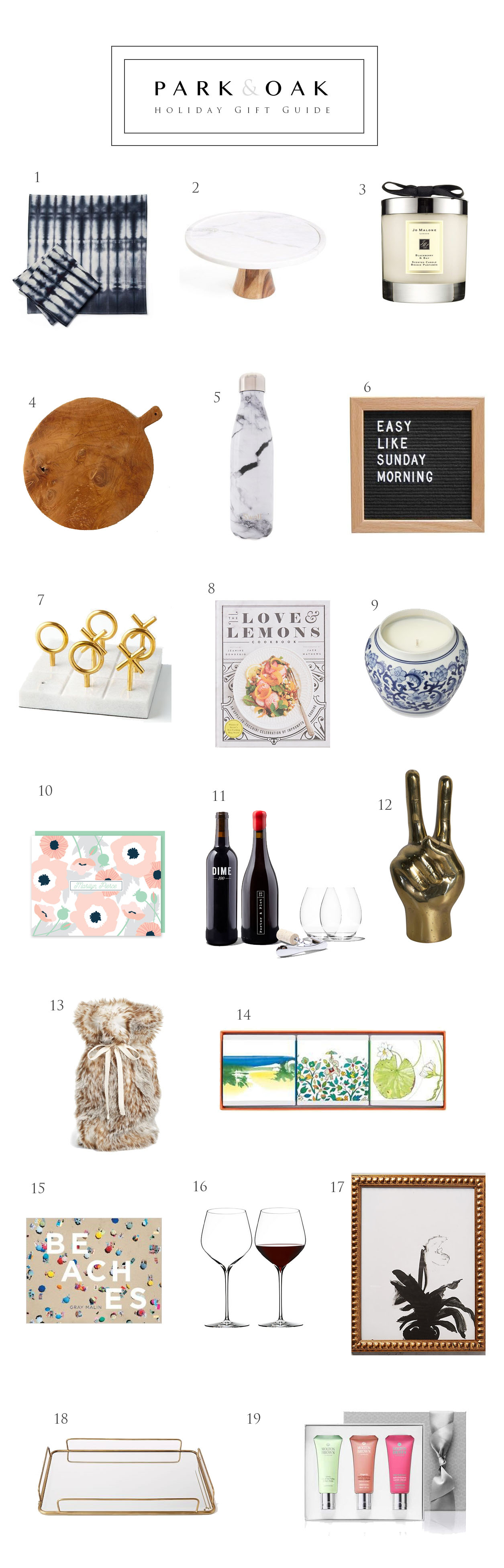Park and Oak holiday gift guide 2016