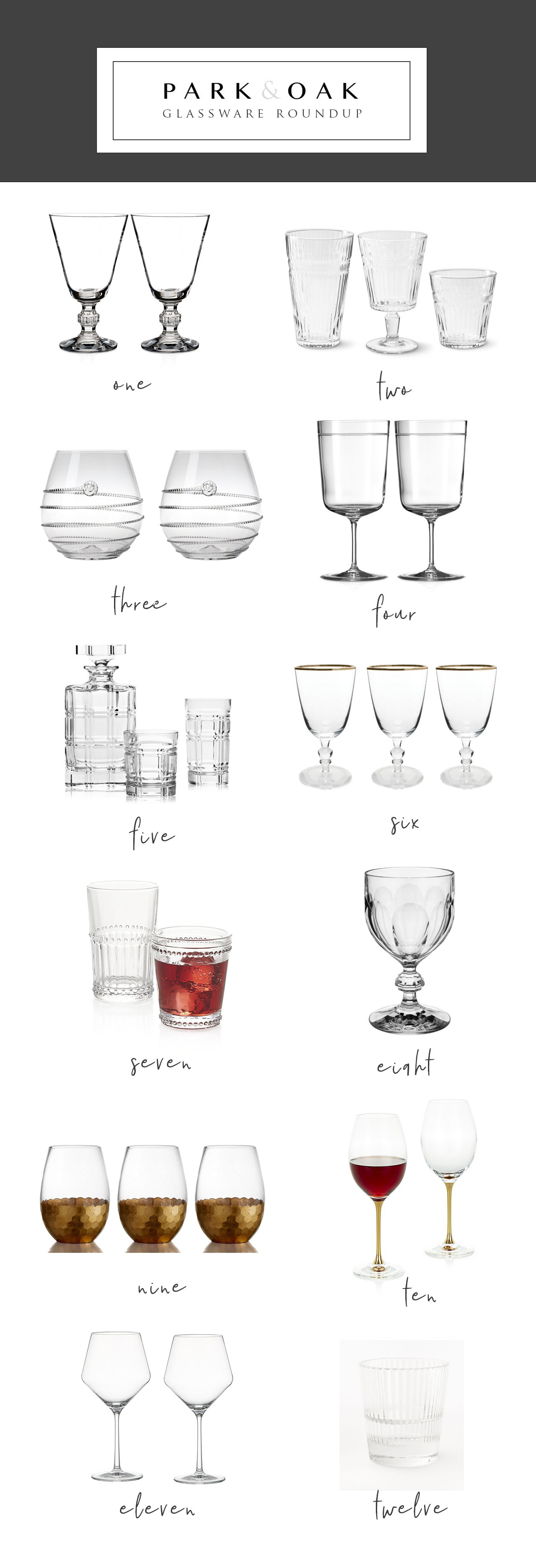 Park and Oak holiday entertaining glassware