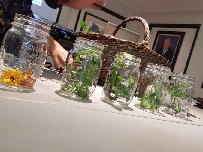 We put a handful of fresh herbs in the mason jars