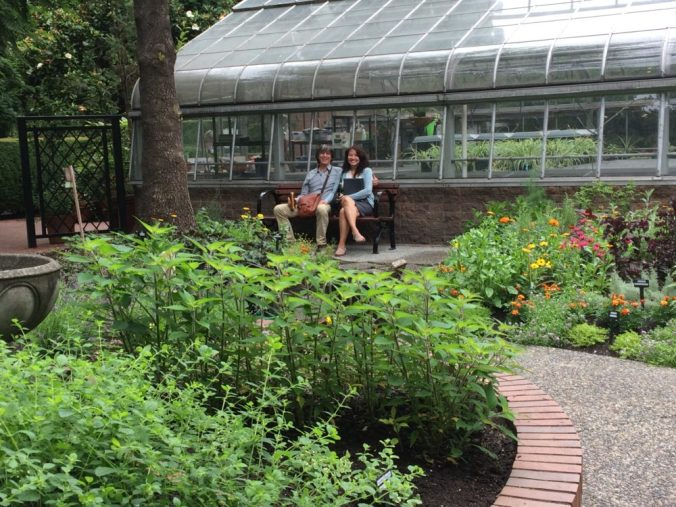 The first visitors to try out the new bench and path