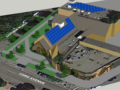 This drawing shows solar units on both the pitched sanctuary roof at St. Anthony Park Lutheran Church and on the flatter roof of the education unit. St. Anthony Park Lutheran Church