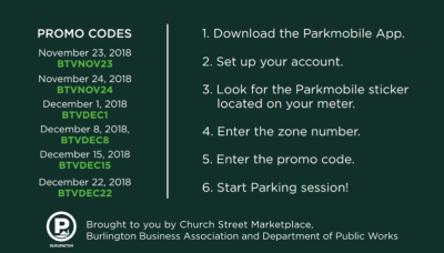 Use Promo Codes for Discount Parking in Downtown Burlington