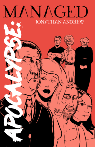 Apocalypse: Managed scarlet and peach drawing of a ragtag group of eccentric heroes