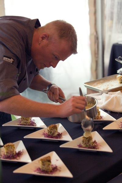 Chef Clark Church plating during Spring Fling